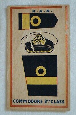 Australian Fighting Force Badge Vintage Sweetacres Card RAN Commodore 2nd Class