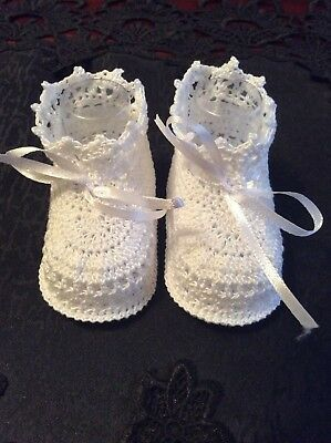 White crochet baby booties new born size