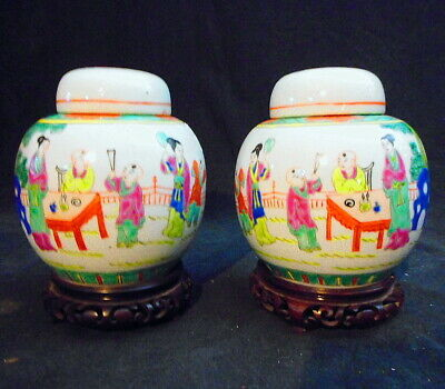Pr. Antique Chinese Lidded Jars on Craved Hardwood Bases Hand Painted