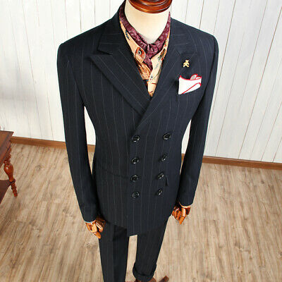 83167de96ad Men's Double-breasted Striped Tuxedos Peak Lapel 8 Buttons Formal Groom  Suits