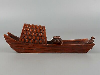 Chinese Exquisite Hand-carved bird boat Carving Boxwood statue