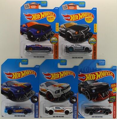"""2016 2017 & 2019 Hot Wheels: 2005 FORD MUSTANG """"All Colors w/ Kmart"""" - 5 Car LOT"""
