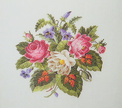 Counted  Cross  Stitch  Pattern :   Antigue  Roses  &  Red  Leaves