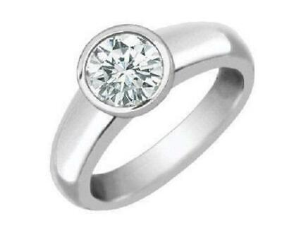 1/2 Ct Real Diamond Solitaire Engagement Ring Bezel Set 6.55 MM 14KT White Gold