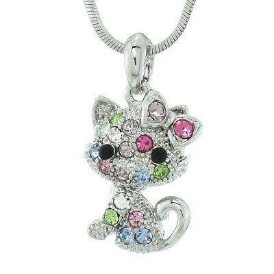 Cat Made With Swarovski Crystal Multi Color Pet Kitten Kitty Pendant Necklace