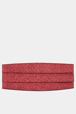 Moss 1851 Mens Wine Red Floral Swirl Cummerbund Formal Accessory