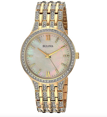 Bulova 98L234 White Mother of Pearl Dial 178 Swarovski Crystals Watch $450 NEW