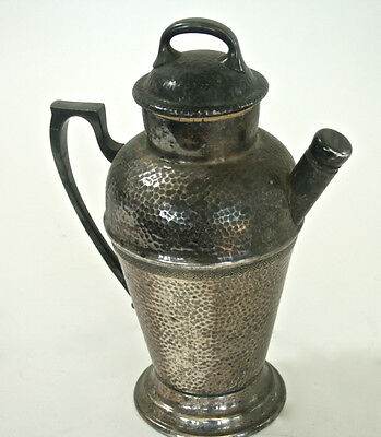 Art Deco Nickel Silver, silver plate Cocktail Martini Shaker HAND HAMMERED