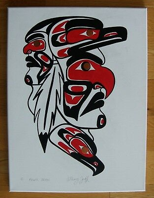 Westcoast Salish Squamish Nation Orig Signed Art By Anthony Joseph * Hawk Man *
