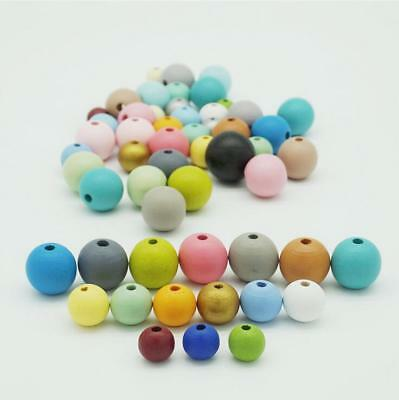 DIY 50PCS Round Wooden Beads Loose beads Jewelry Beading Pacifier clip Making