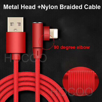 Elbow iPhone 6 7 8 Plus XR X Braided 90 Degree Lightning Cable USB Charger Cord