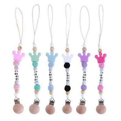 DIY No Paint Wood Pacifier Clip Food Grade Silicone Crown dummy Holder Chain