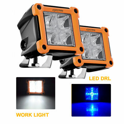 2x 20W Led Work Lights Pods Spot Offroad Lamp 4'' Cube Blue Driving SUV UTE ATV