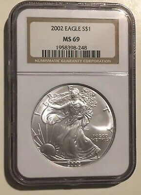 2002 NGC Silver American Eagle MS69 1oz. .999 Silver Dollar Coin SAE Brown Label