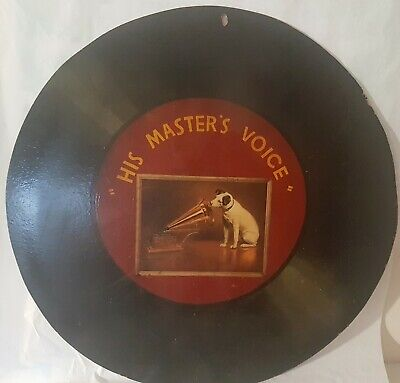 "34""/84 cm His Masters Voice (HMV) Advertising Sign Gramophone Record on Masonite"