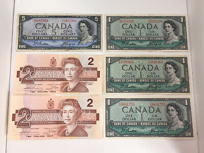 Lot of 1954 (4) Canadian $1 + $5 Beattie/Coyne Banknotes + (2) 1986 $2 Dollar