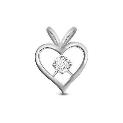 1.20 CT Diamond Solitaire Heart Pendant 925 Sterling Silver 14K White Gold Over