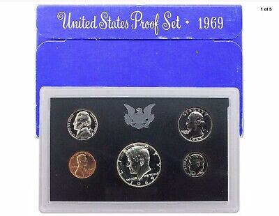 1969 US Mint Proof Set 5 Piece Silver-Clad Set