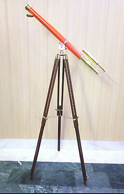 SOLID BRASS NAUTICAL Double Barrel TELESCOPE WITH TRIPOD ORANGE POWDER COATING.