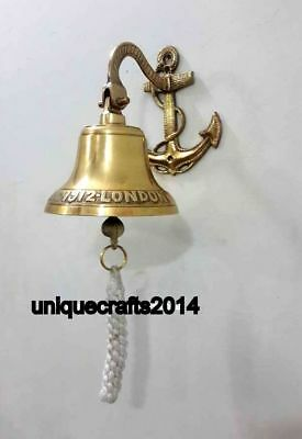 Nautical Hanging Door Bell Vintage Brass Ship Bell With Wall Mounted Bracket