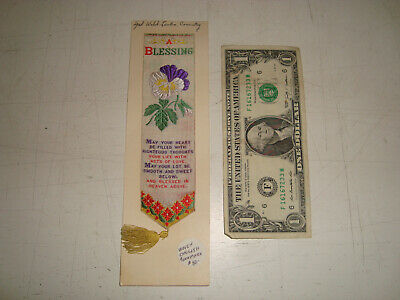 Victorian Welch & Lenton, Coventry, Embroired Silk Bookmark A Blessing