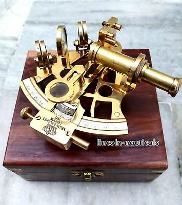 Nautical Maritime Brass Sextant W/ Wooden Box ~Collectible Handmade Item Gift.