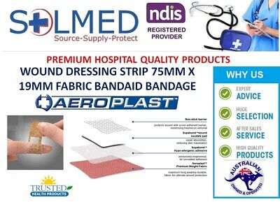 50 X LATEX FREE BANDAID FABRIC STRIPS STERILE LARGER 72MM x 20MM (LOOSE 50)