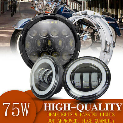 "7"" Black Front Round LED Projector Headlight + 2x 4.5"" Passing Lights For Harley"
