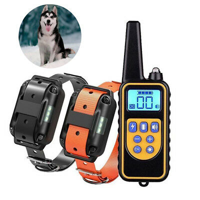 Waterproof 2 Dogs Shock Collar W/ Remote Electric for Large 880Yard Pet Training