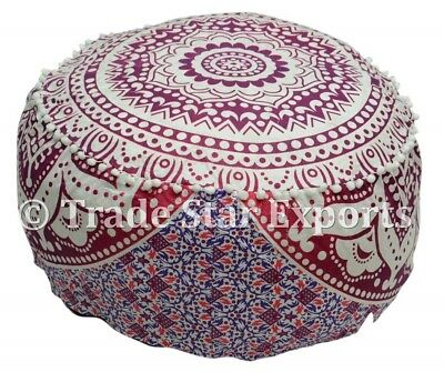 Indian Ombre Mandala Pouf Ottoman Cover Hippie Round Footstool Ethnic Pouffe Art