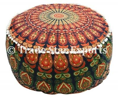 Indian Mandala Ottoman Pouf Round Footstool Ethnic Cotton Floor Pouffe Cover Art