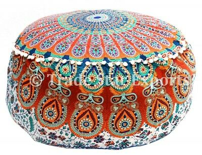 Indian Mandala ottoman Pouf Cover Round Floor Pouffe Ethnic Cotton Footstool