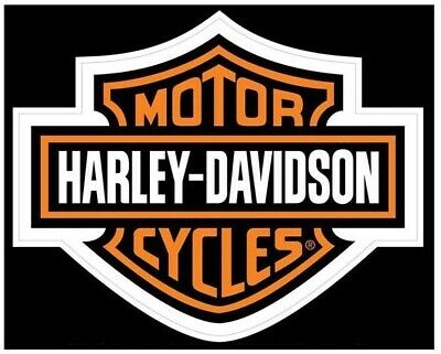 Harley-Davidson Bar & Shield Classic Large Orange and Black Decal 8x6 inch D3024
