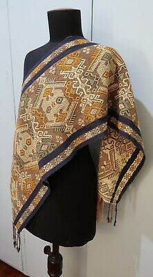 *33 X 122cm Oblong Indonesian Hand Woven Brown & Cream Cotton Fabric