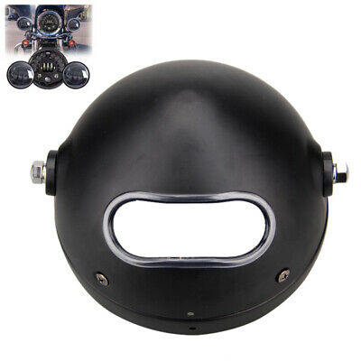"Motorcycle Cafe 5.75Inch 5 3/4"" LED Headlamp Light Black Cover Housing Bow Mount"