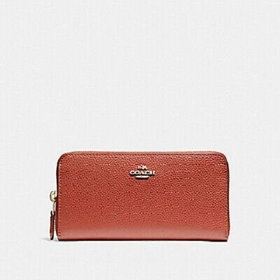 NWT Coach F16612 Accordion Zip Wallet In Polished Pebble Leather
