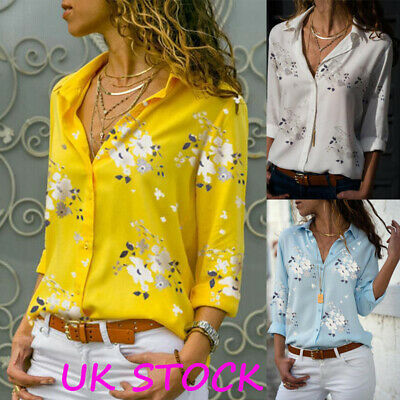 Plus Size Womens Button Floral Loose Tee Shirts Tops Ladies Long Sleeve Blouse