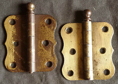 "Pair 3""x3"" Antique Vintage Brass Steel Interior Door Ball Finial Hinges Cabinet"