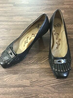 22c20c22205 SOFFT BLACK TASSEL Leather Loafer Kitten Heel Pumps Sz 6 -  18.99 ...