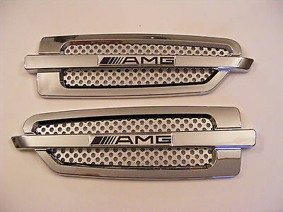 Mercedes - Benz  2 x Side Wing Air Flow Air Vent Trim Fender Grill  Chrome