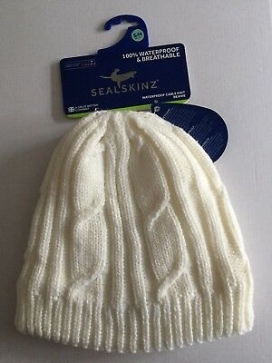 5f28375750e SEALSKINZ 100% Waterproof   Breathable Cable Knit Beanie S M 55-57cm Cream