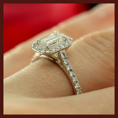 1.40ct Emerald & Round Cut Halo Solitaire Engagement Wedding Ring 10k White Gold
