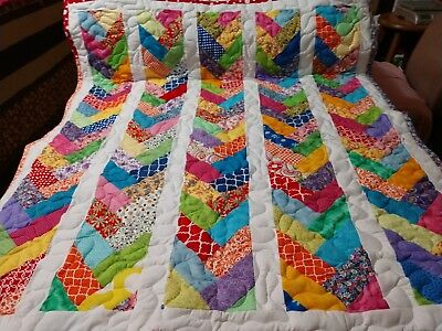 Handmade Pieced French Braid Multi Boy Girl Baby Lap Crib Quilt Throw Blanket
