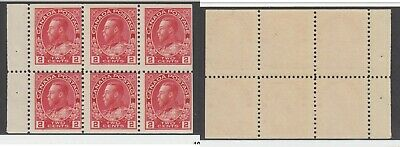 MNH Canada 2c KGV Admiral Booklet Pane #106a (Lot #14950)