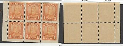 MNH Canada 1c KGV Scroll Booklet Pane #149a (Lot #14957)