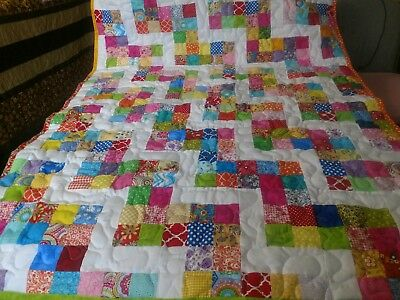 Handmade Pieced 6 Patch Rail Fence Boy Girl Baby Lap Crib Quilt Throw Blanket