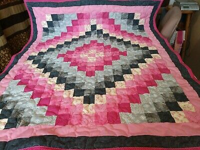 Handmade Pieced Girl Pink Gray Trip Around The World Baby Crib  Quilt  blanket
