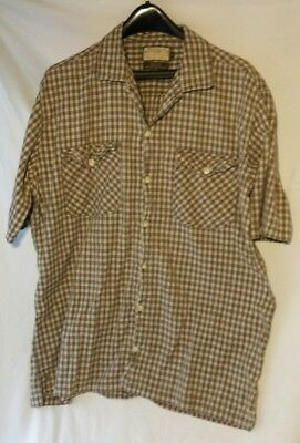 Dockers Mens Shirt L Plaid Button Front Short Sleeve Large Cotton