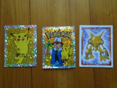 Lot 3 Cartes Pokemon Card Sticker PIKACHU SACHA MERLIN S29 S30 65 Alakazam - TBE