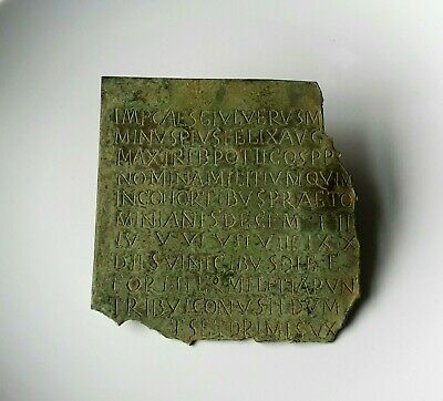 Scarce Ancient Roman Legionary Bronze Diploma Fragment